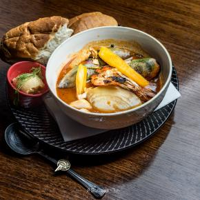 Seafood Stew with crusty baguette and bone marrow rouille